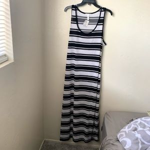 Ambiance Apparel Maxi Dress Striped White Black